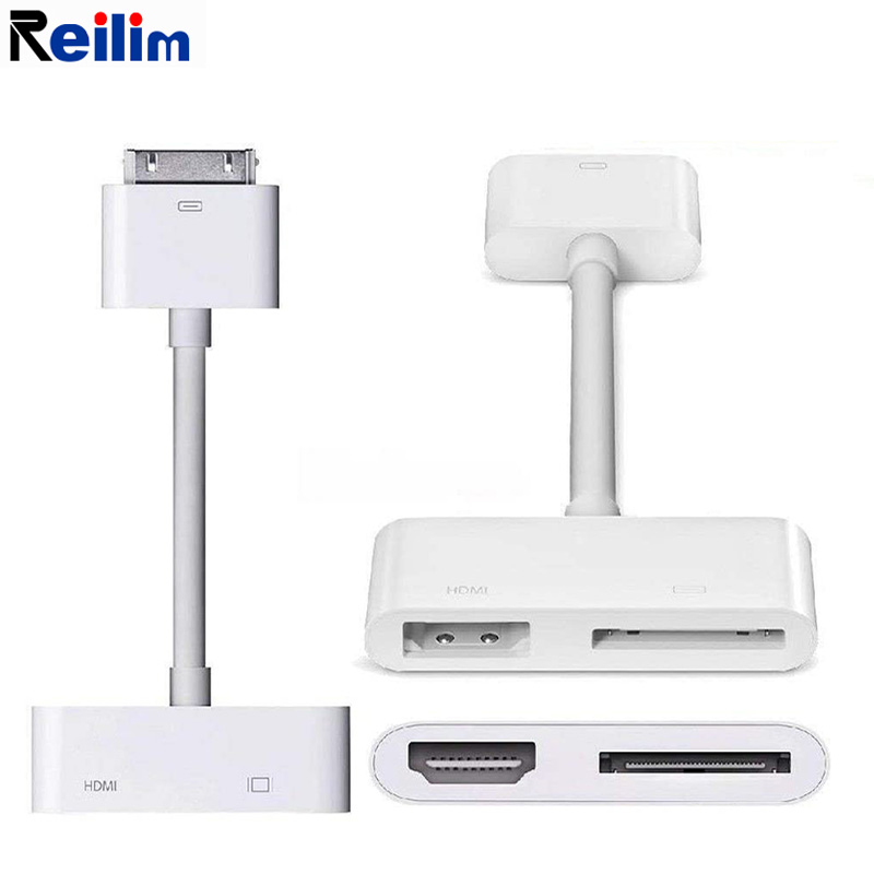 m USB HDMI HDTV To Dock 30 Pin TV Adapter Converter <font><b>Cable</b></font> for IPad <font><b>1</b></font> <font><b>2</b></font> 3 for <font><b>IPhone</b></font> 4 4s USA Digital AV 30-Pin to HDMI Adapter image