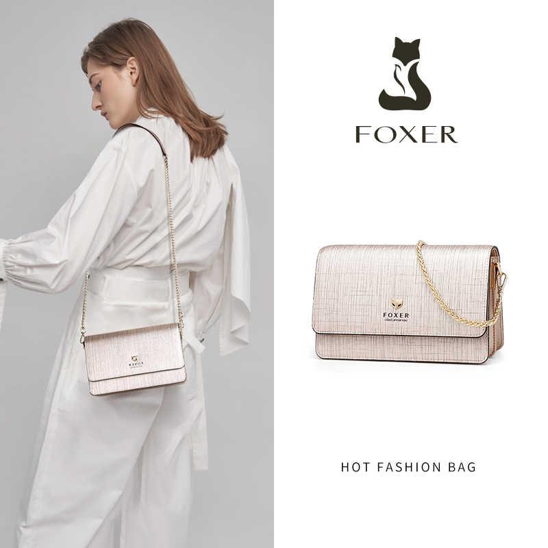 FOXER 브랜드 여성 세련된 작은 플랩 숄더 가방 여성 가방 분할 가죽 세련된 메신저 가방 & Crossbody 가방 패션 디자인