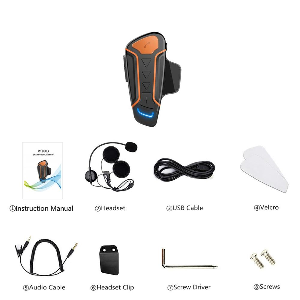 Wt003 1000M Ip67 Waterproof Motorcycle Helmet Walkie-Talkie Motorcycle Walkie-Talkie Headset With Fm Radio Single Package