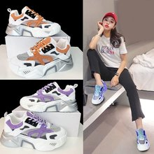 spring and summer new low top color matching tide shoes wild sports shoes running shoes 2020 summer new female tide color matching breathable casual sports shoes fashion wild thick bottom old shoes Z1001