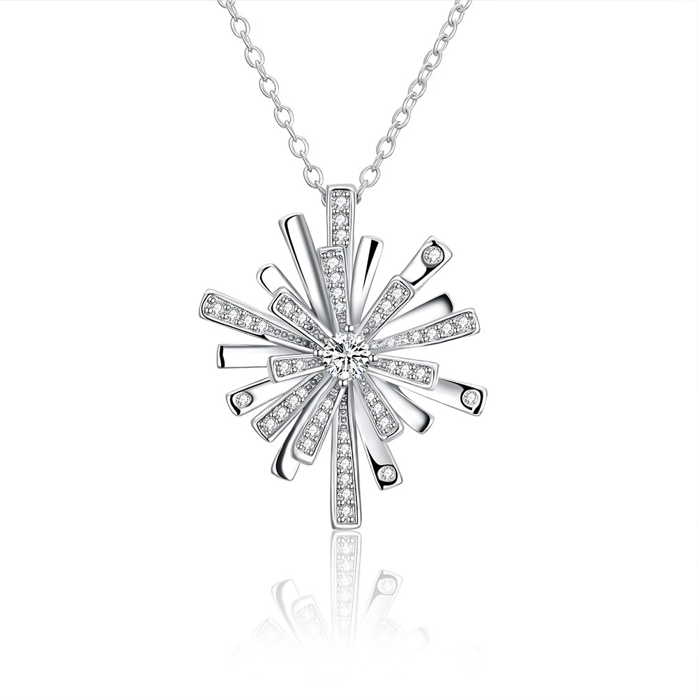 Christmas necklace Fashion Snowflake Cross Pendant Long Necklace 18 White Gold Rose Bicolor Jewelry Gift
