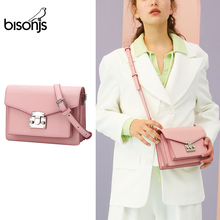 BISONJS Cowhide Leather Women Handbag Luxury Handbags Women Bags Designer Satchels Female Shoulder Bag bolsa feminina B1672