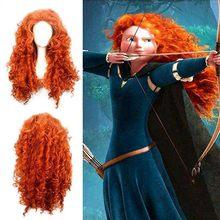 Film cesur prenses Merida Cosplay kostümleri Mei lida uzun kıvırcık sentetik peruk saç cadılar bayramı partisi rol oynamak peruk kadınlar için