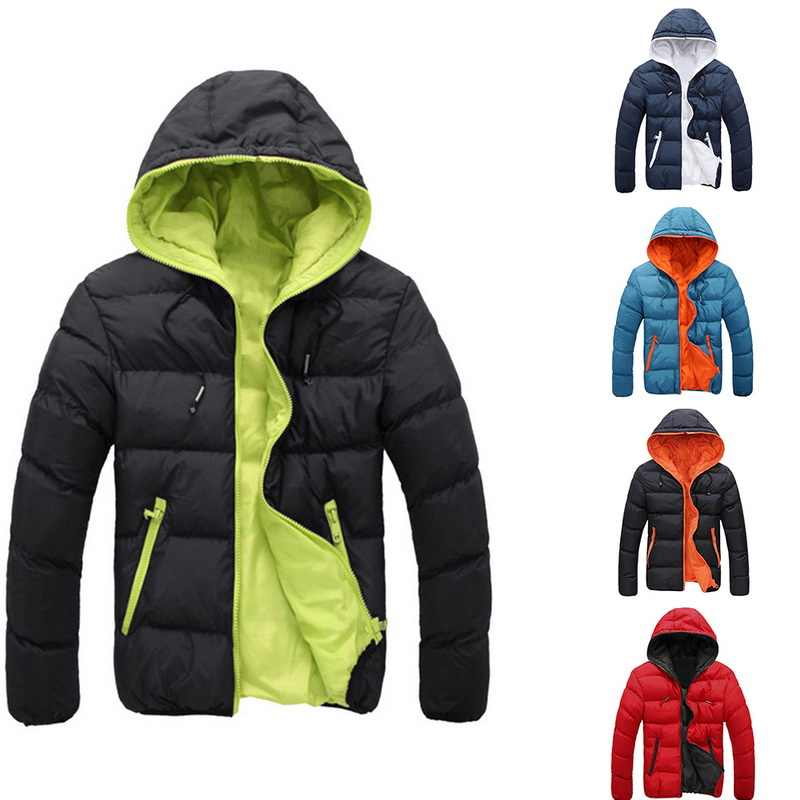 2019 Men's Slim Fit Winter Hooded Puffer Jacket Men's Cotton Coat Skin Coat Casual Thin Breathable Ice Silk Outwear Clothes