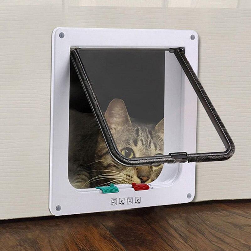 4 Way Lockable Cat Door Security Flap Door ABS Plastic S M L Animal Small font