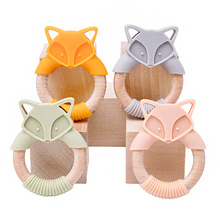 1Pc Baby Fox Wooden Teether Animal Ring Silicone Rodent Beech Wooden Ring Baby Pacifier