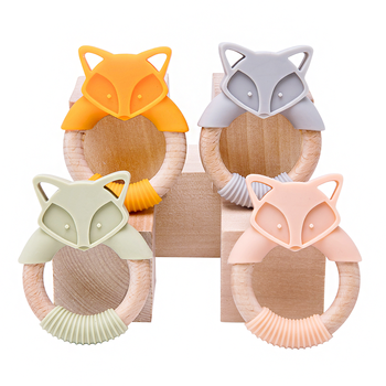 1Pc Baby Fox Wooden Teether Animal Ring Silicone Rodent Beech Wooden Ring Baby Pacifier Pendant Nurse Accessories Toys For Kid