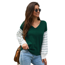Echoine Women sweater Autumn winter long-sleeved contrast color tops female stitching pullover ladies clothes cardigan jumper