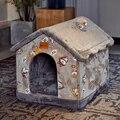 Съемный Кошка Кровать Дом Питомник Гнездо зимнее гнездо для домашних животных кошка ковер собачья кровать диван-кровать для собак/подушки ...