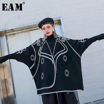 [EAM] modèle grande taille tricot pull coupe ample col haut à manches longues femmes chandail nouvelle mode automne hiver 2019 1H748