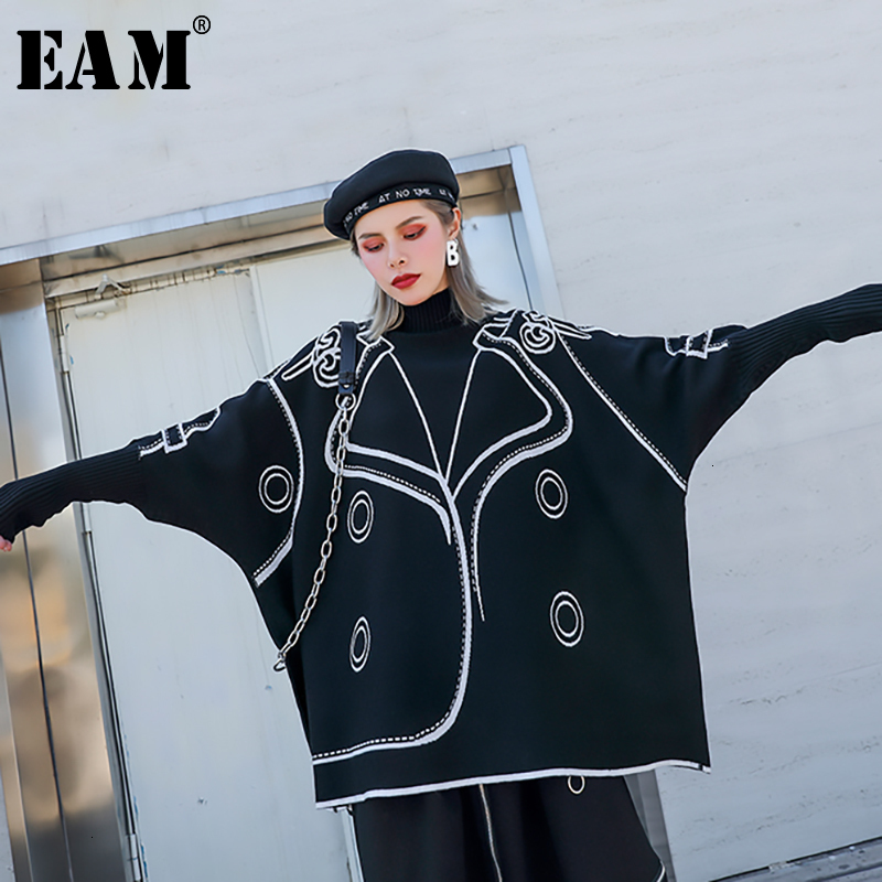 [EAM] Pattern Big Size Knitting Sweater Loose Fit High Collar Long Sleeve Women Sweater New Fashion Autumn Winter 2019 1H748