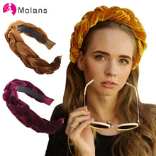 MOLANS Velvet Braided Headband Fashion Women 4CM Wide Braid Hair Band Winter Crown Thick Head for Girls
