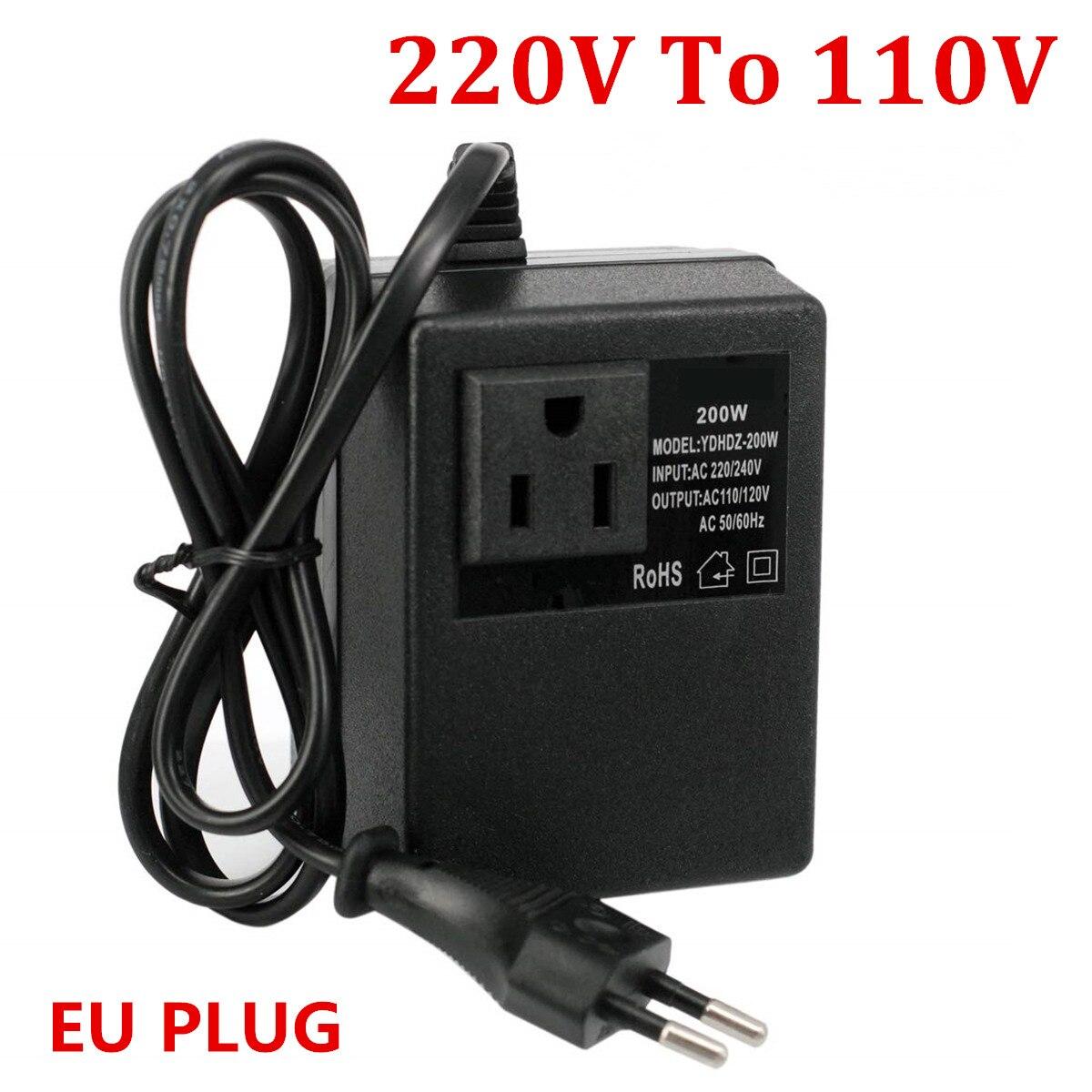 NEUE 1 PCS 200W Spannung Konverter Transformator 220V Bis 110V Step Down Reise Spannung Transformator Konverter EU stecker