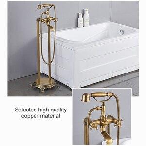 Image 4 - アンティークブロンズフローリング風呂の蛇口ハンドシャワーフロアハンドヘルドシャワー浴槽水ミキサーEL8701