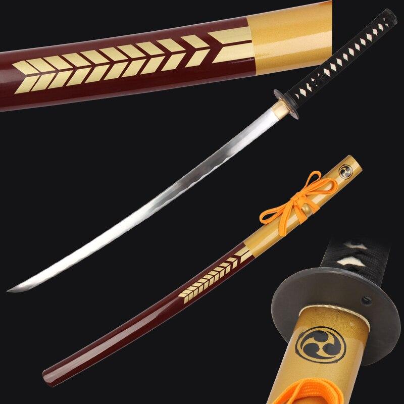 New katana sword real 1045 carbon steel blade sharp edge samurai swords wine red wooden sheath with bag decorative craft arrival