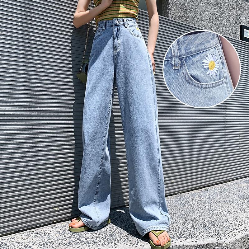 Thin fabric straight-leg jeans women 2020 new Xia Quan Zhilong same paragraph daisy mopping pants