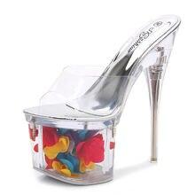 Женские босоножки на высоком каблуке 17 см прозрачные летние