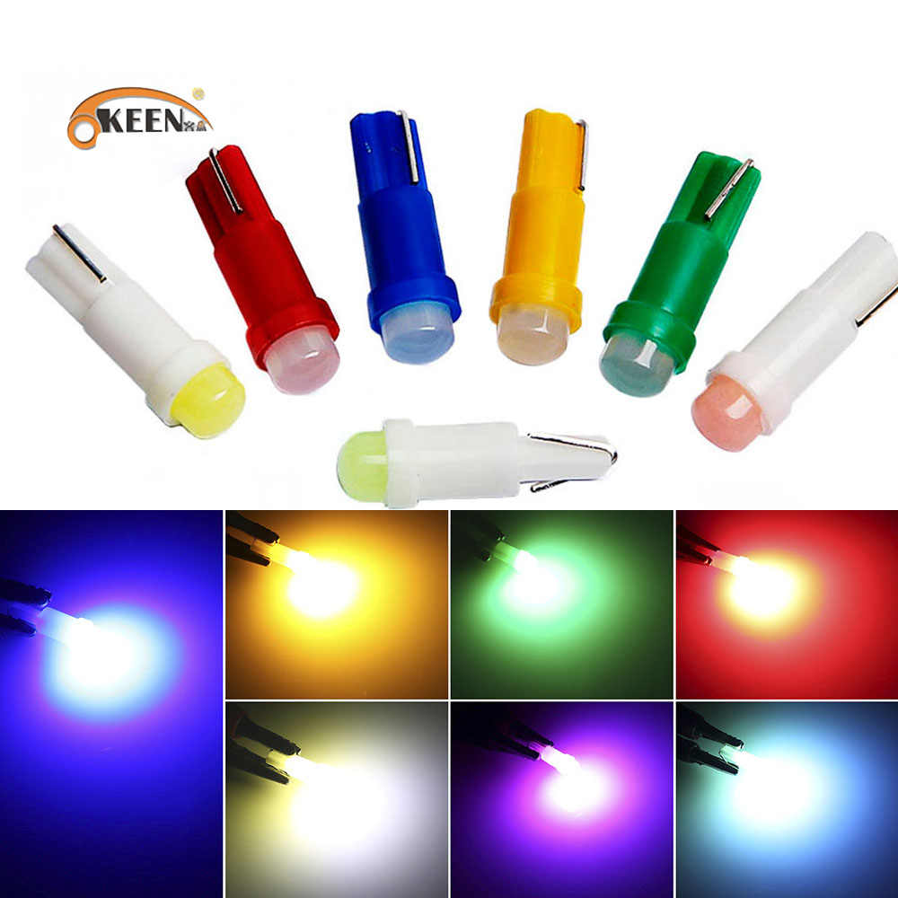 10 Pcs T5 Led Auto Interieur Auto Side Wedge Light Dashboard Gauge Instrument Auto Lamp Dc 12V Wit rood Blauw Geel Groen