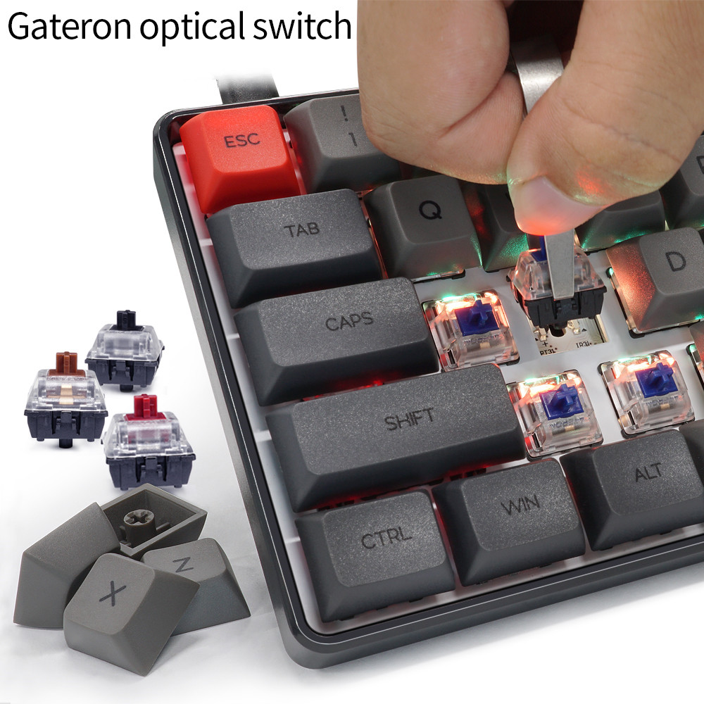 10Pcs Gateron Switch Mechanical Keyboard Gateron MX 3 Pin Clear Switch Transparent Case Black Red Blue Brown D30