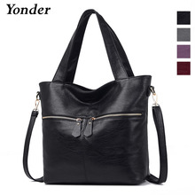 Yonder 여성용 정품 가죽 가방 여성용 가방 대용량 어깨 크로스 바디 백 고품질 토트 백 메인 펨므