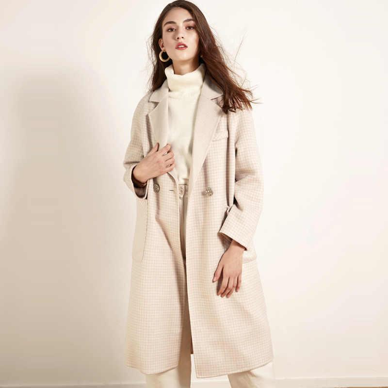 2019 ใหม่แฟชั่นฤดูหนาวผู้หญิงสองด้าน Cashmere เสื้อกันหนาวยาวกองทุนขนสัตว์ Lattice หลวมหญิง Alpaca เสื้อและเสื้อ YL120