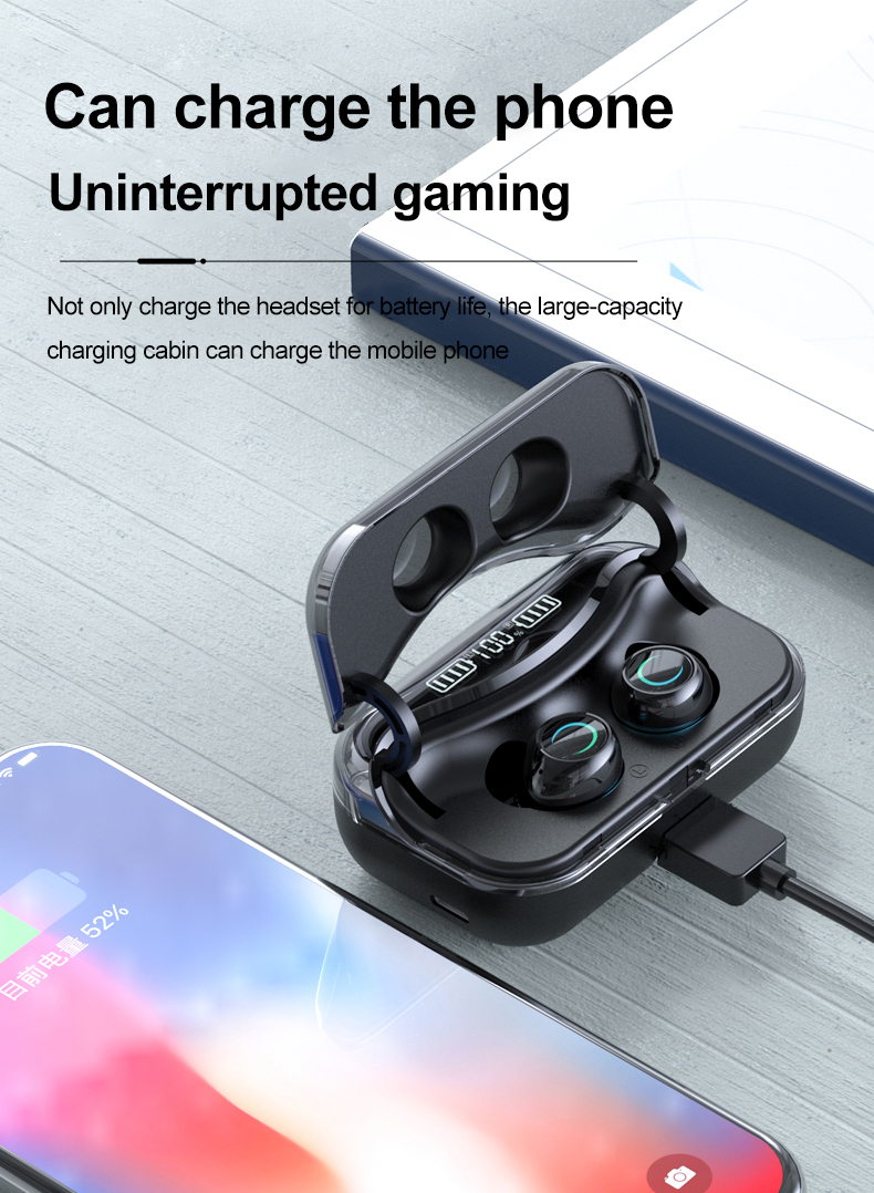 Bluetooth 5.1 Earphone Touch Control Wireless Headphones HiFi with LED Display Charging Box