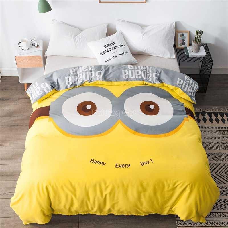 Cartoon Minions Big Eyes Duvet Cover 1pc Kids Cute Printed Comforter Case 100% Cotton Fabric Quilt/Blanket Case Twin Full Queen