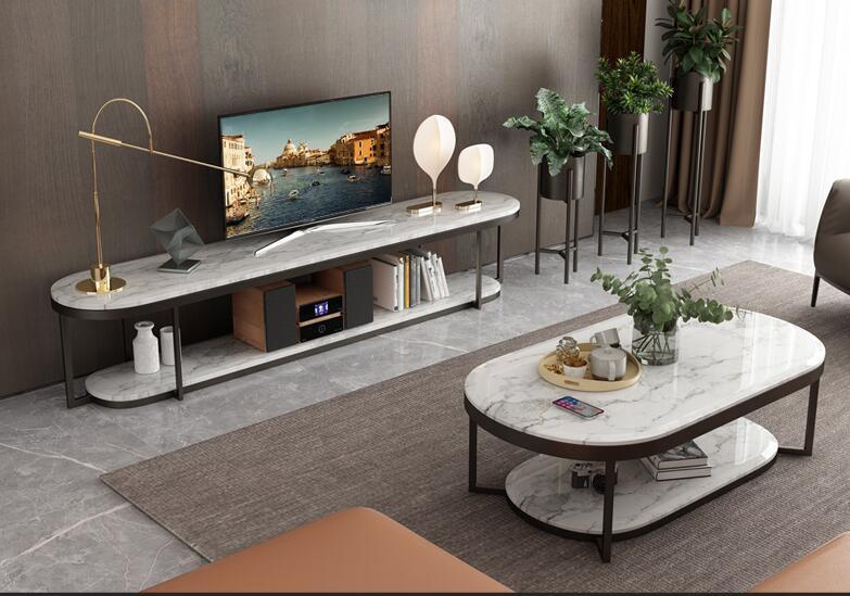 Boreal Europe Modern Marble TV Ark Tea Table Combines Contracted Elliptic Double Deck TV Ark Tea Table Sitting Room Indoor