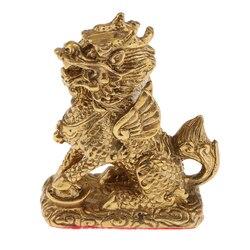 Golden Feng Shui Ornament Chi Lin/Kylin Wealth Prosperity Lucky Statue Handcraft for Living Room/Bedroom/Office