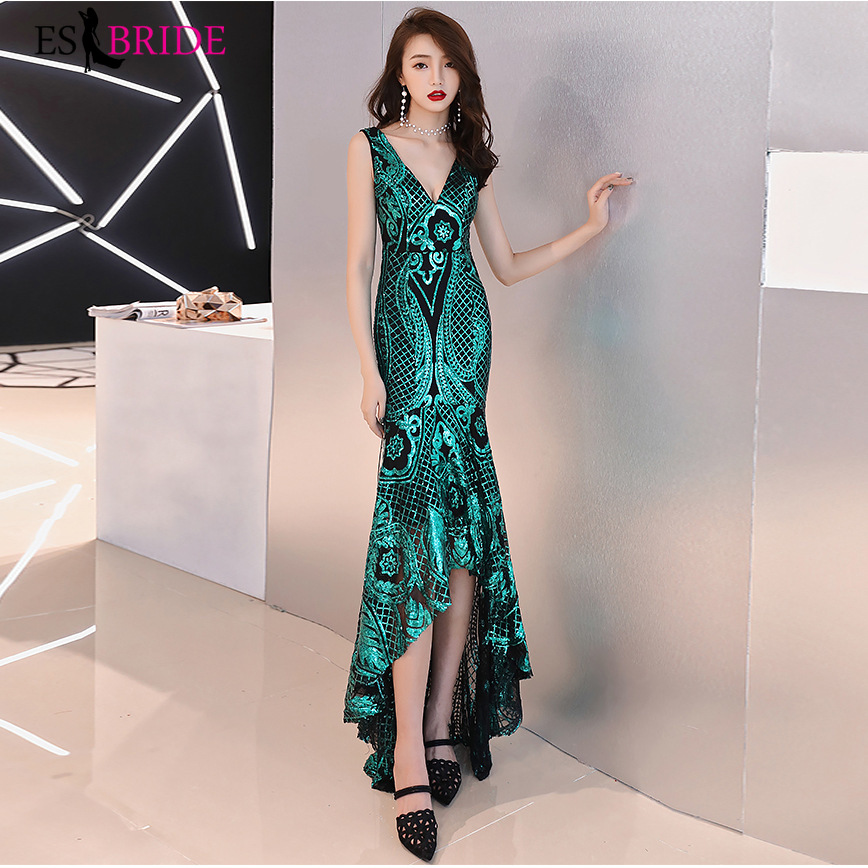 Sexy Sparkle Evening Dresses Green Black Gold ES2916 Backless Ruffles Mermaid Sequined Formal Dresses High Low Party Gowns