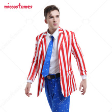 American Flag Suit Adult Men USA Flag Suit Jacket Costume Blazer Outfits