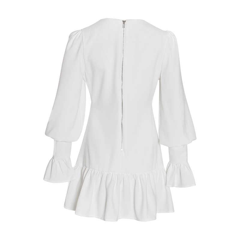 Deuxtwinstyle élégant mince femmes robe col en V lanterne manches taille haute volants Mini robes femme décontracté printemps 2019 nouveau