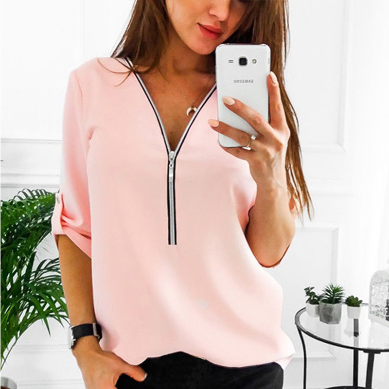 2019 Summer V Neck Zipper Roll Up Long Sleeves Loose Shirt Women Spring Summer Chiffon Blouse Top Blusa Feminina Plus Size 5XL
