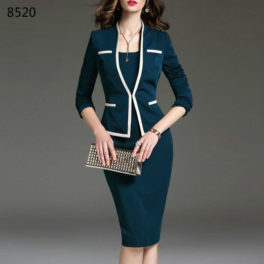 Office Suits For Women 6XL Plus Size Spring Autumn Female Suit For Office Wear Jacket 2 Pieces Set Women Fashion Skirt With Suit