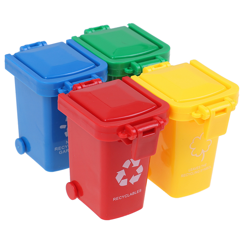 Simulation 1:12 Dollhouse Mini Trash Can Toy Garbage Truck Cans Curbside Vehicle Bin Toys Kid Simulation Furniture Toy Gift