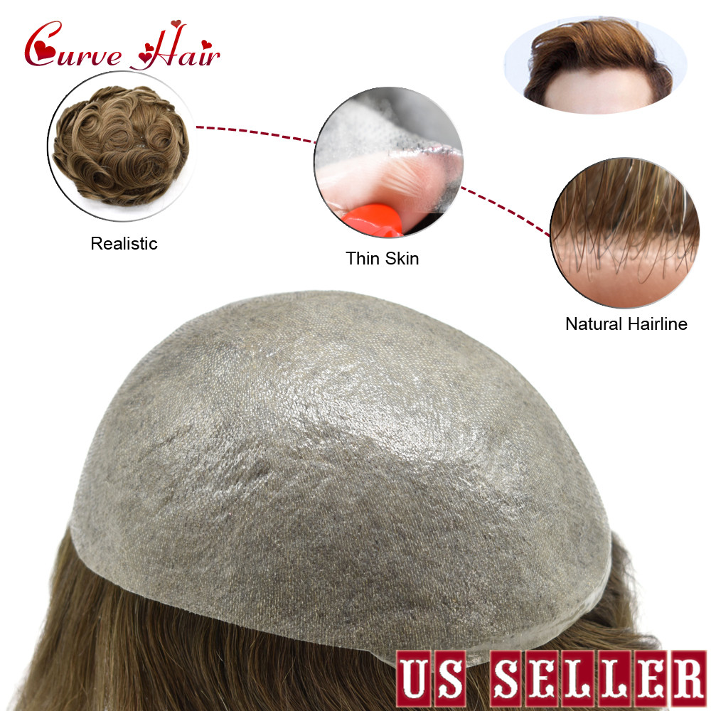 Dark Brown Ultra Thin Skin V-looped Men Toupee Full Poly Human Hair Wig All PU Hair System Hairpiece 2# 90% Density