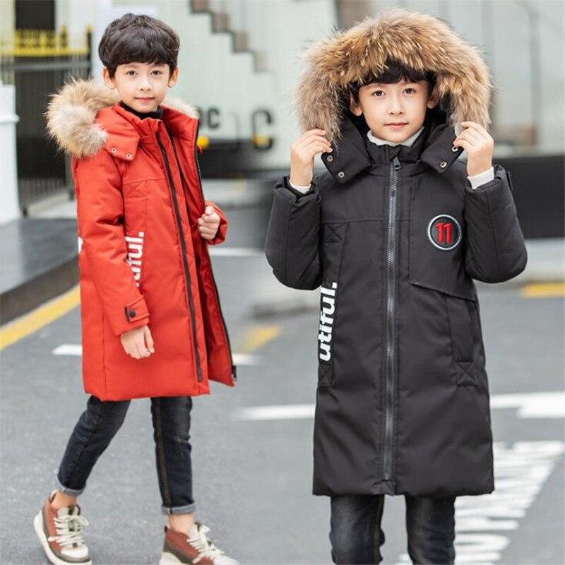 JMFFY russie hiver garçons et filles hiver enfants épaississement chaud vers le bas vestes en coton Long grande fourrure vêtements d'extérieur à capuche manteaux enfants