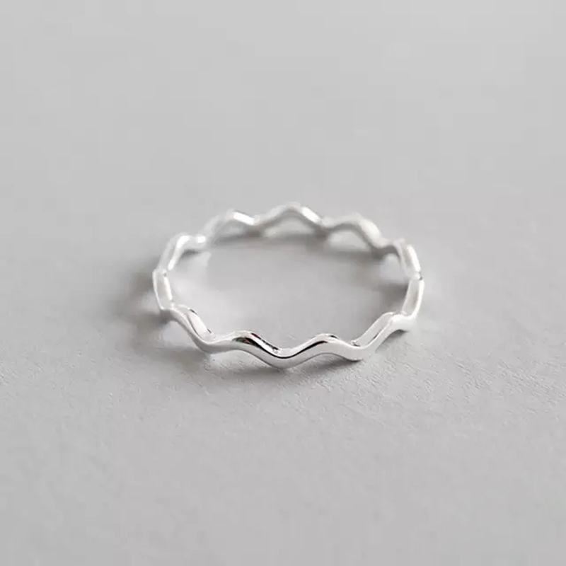 100% 925 Sterling Silver Simple Thin Line Curve Wave Wild Smooth Ring