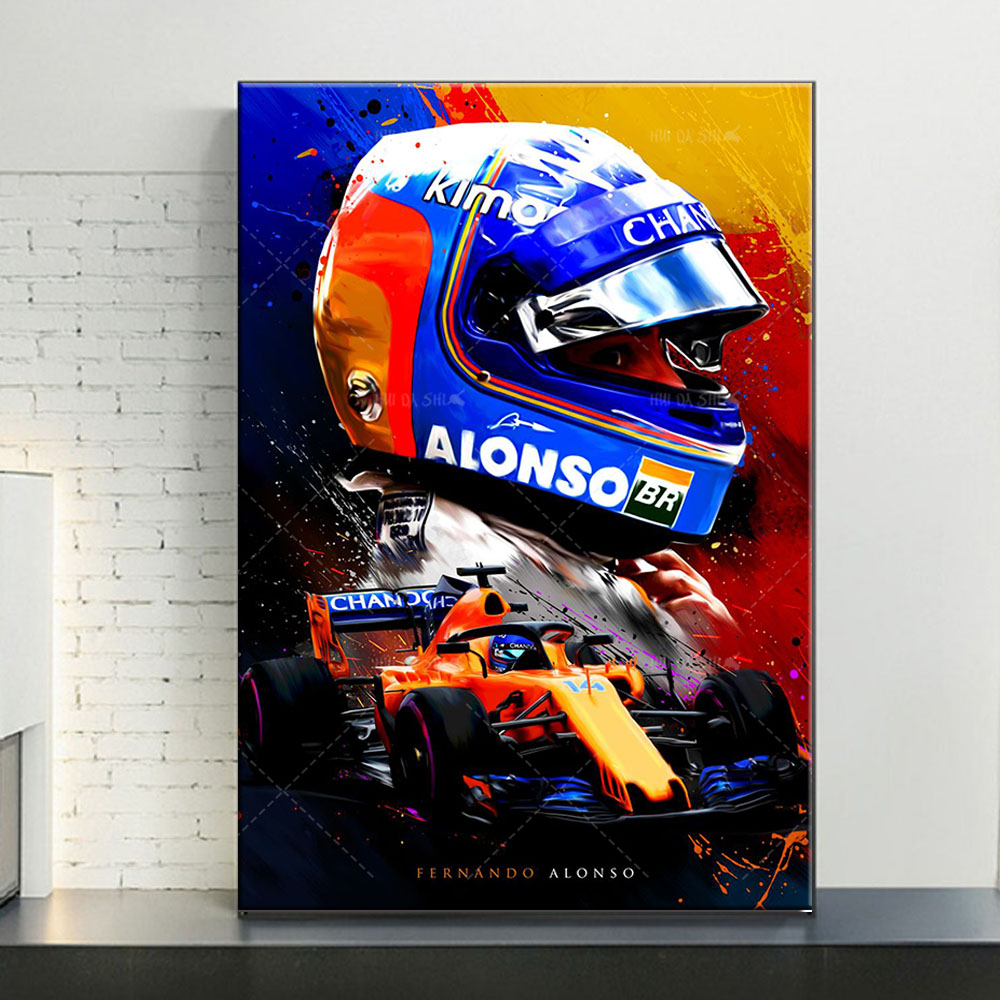 Modern Home Decor Fernando Alonso F1 Abstract Poster Canvas Painting Print Modular Wall Art Picture Home Living Room Decoration