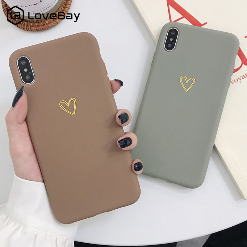 Lovebay Couples Phone <font><b>Case</b></font> For <font><b>iPhone</b></font> X XR XS Max 7 8 6 <font><b>6s</b></font> Plus Love <font><b>Heart</b></font> Cute Candy Color Soft TPU Silicone Back Cover Coque image
