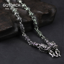 Necklace 925-Sterling-Silver Chain Jewelry Tibetan Buddha Real Men for Mani Padme Hum