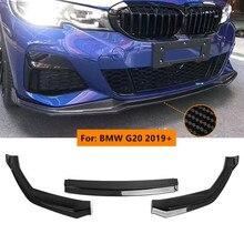 цена на 3pcs/Set G20 Carbon Fiber Front Lip Spoiler for BMW 3 Series G20 2019 2020 Front Bumper Trim Protector Covers Car Body Kits