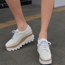 Женские кроссовки из яловой кожи со шнуровкой на платформе ботильоны