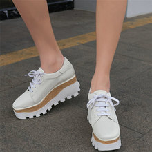 Trainers Women Lace Up Cow Leather Platform Wedges High Heel Ankle Boots Female Square Toe Fashion Sneakers Pumps Shoe