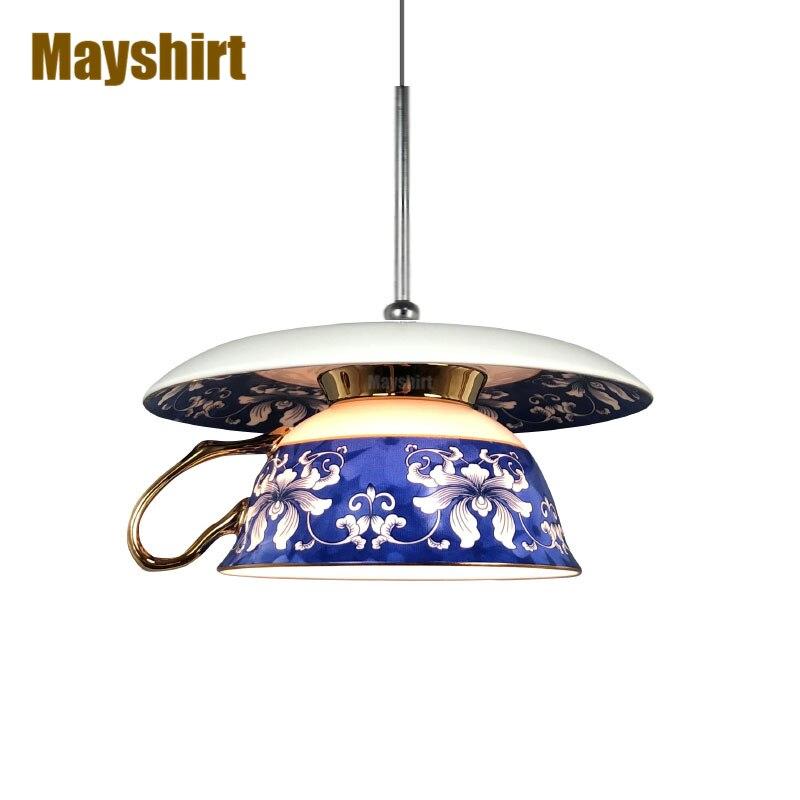 Винтажная Керамическая подвеска светильник s, скандинавский подвесной светильник для чайной чашки, для столовой, спальни, кухни, светильник