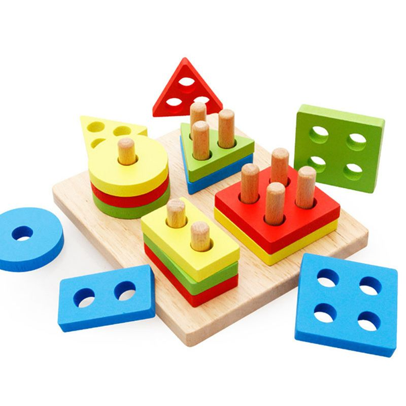 Wooden Blocks Early Educational Toy Four Column Shape Matching Geometry Kids Color Cognition Tool