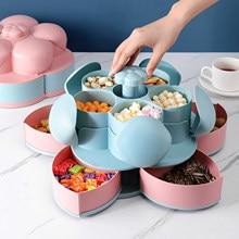 Boîte à Snack rotative en forme de pétale, plateau à bonbons, boîte de rangement des aliments, assiettes à bonbons de mariage, Double couche, étui organisateur de noix et de fruits secs