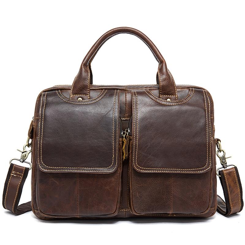 Luufan Men's Genuine Leather Bag For Men Bussiness Messenger Bag Men's Briefcase Leather Laptop Bag Men's Office Briefcase