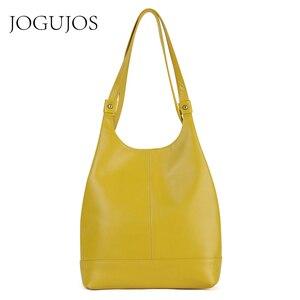 Image 1 - JOGUJOS torebka ze skóry naturalnej moda damska torba na ramię skórzane luksusowe damskie torby z bawełny dla kobiet torebki marki