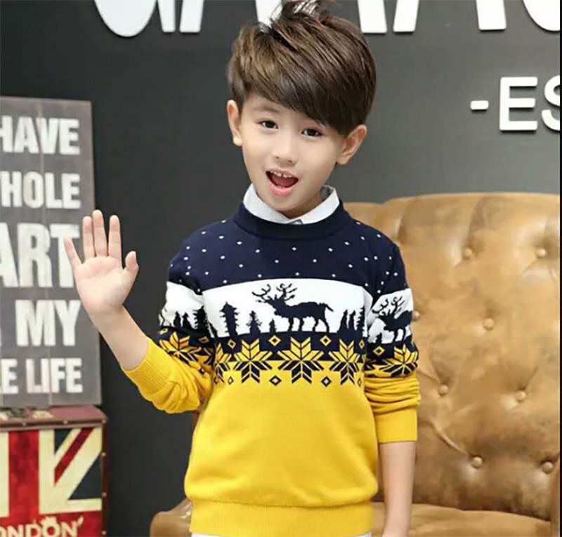 Christmas Sweaters For Boys Winter Elk Print Kids Boy Clothes Long Sleeve Double Thicken Cotton Knit Children Sweaters